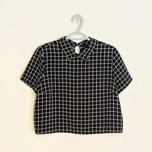 3/$20 Black White Grid Collared Crop Top Shirt Med